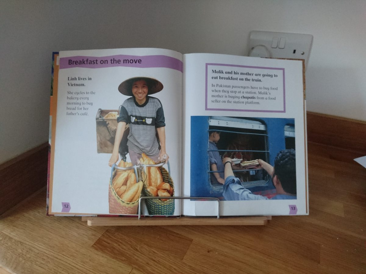 How a book stand for your home education will get more from your books - LearningInAnOxfordKitchen.co.uk